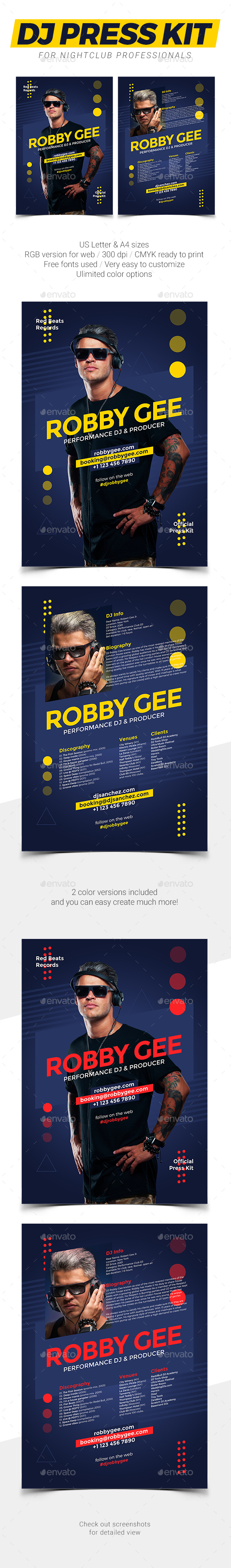 Prodj Dj Press Kit Dj Resume Psd Template By Vinyljunkie