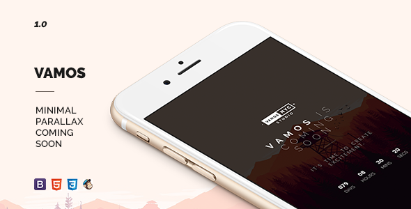 Vamos – Minimal Parallax Coming Soon Template