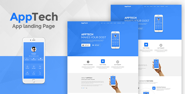 Apptech - Multipurpose Landing Page Template - Technology Site Templates