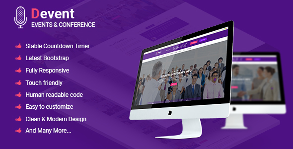 Devent – Events & Conference Site Template with Onepage & Multipage Feature