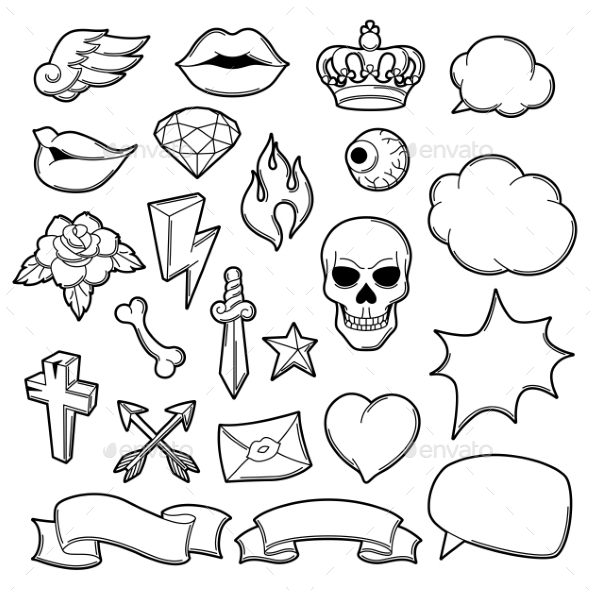 Set Of Retro Tattoo Symbols Cartoon Old School By Incomible