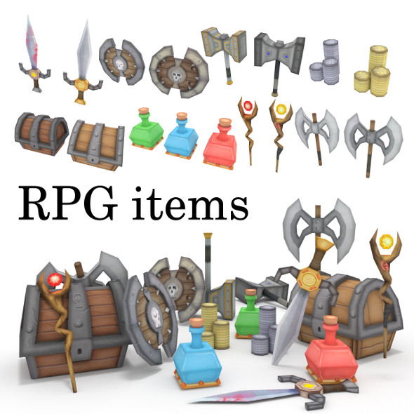 low-poly RPG item collection - 3DOcean Item for Sale