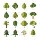 Green Summer Forest Tree Flat Vector Icons - GraphicRiver Item for Sale