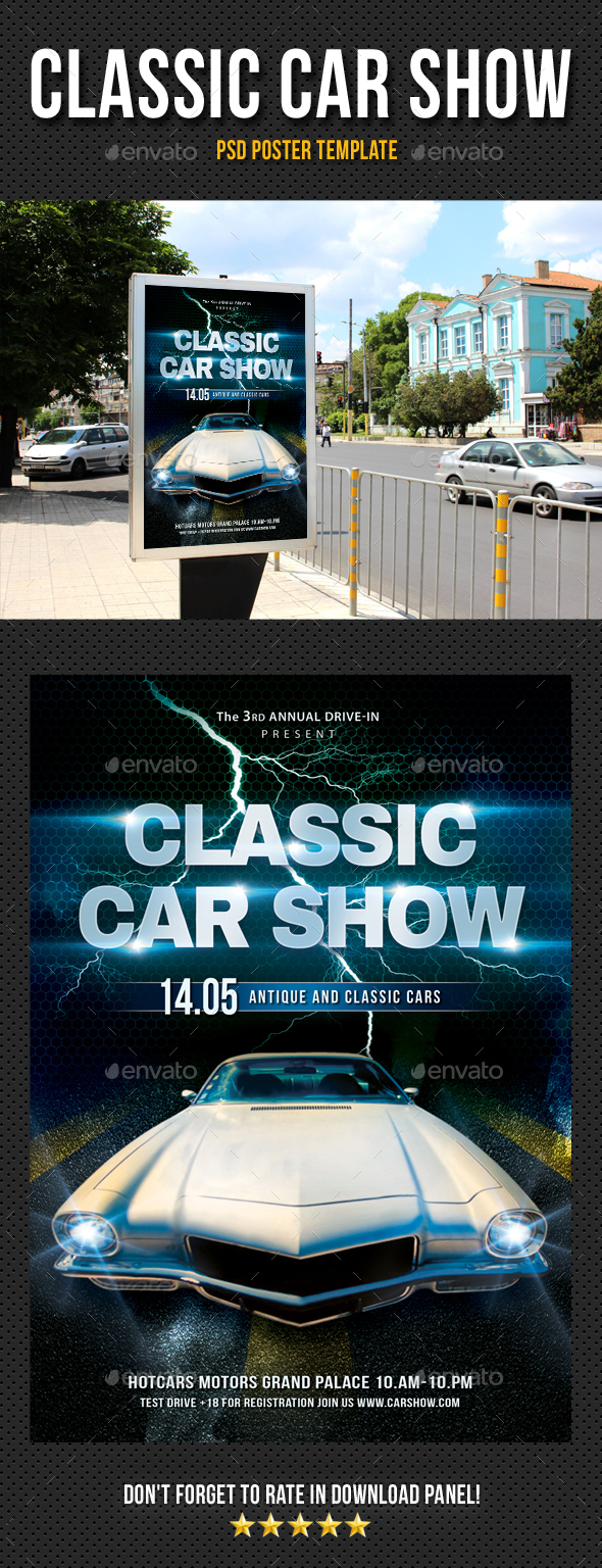 Classic Car Show Poster By Rapidgraf GraphicRiver - Classic car show poster template