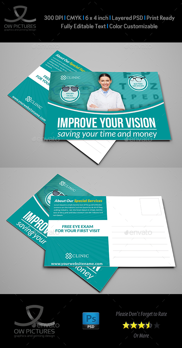 Optometrist & Optician Postcard Template by OWPictures | GraphicRiver