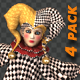 Puppet Harlequin - Passing Screen - Pack of 4