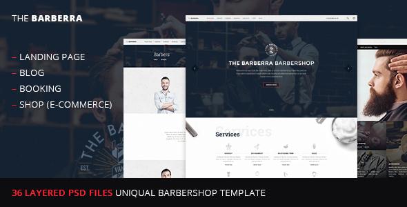 Barberra –barbershop PSD template - Health & Beauty Retail
