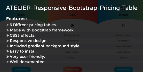ATELIER - Responsive Bootstrap Pricing Table