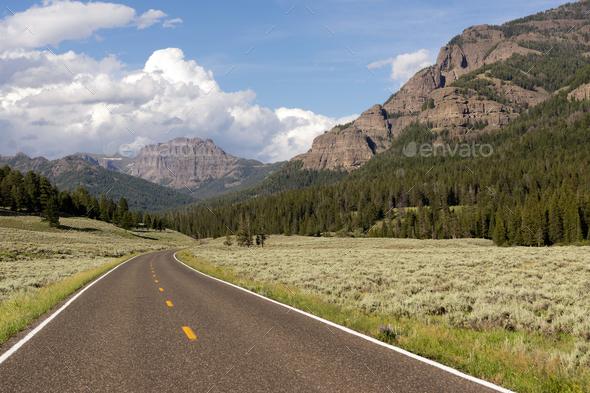 Two Lane Road Transportation Yellowstone National Park Wyoming - Stock Photo - Images