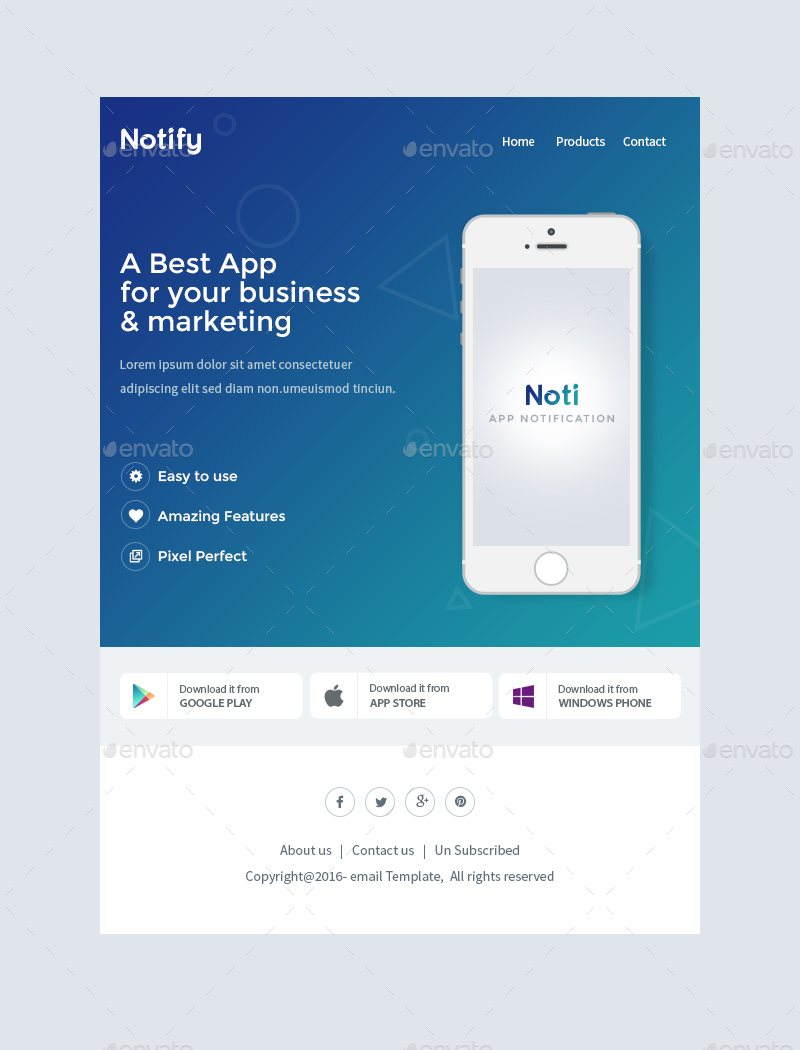 Notify notification email template psd by for Google apps email templates