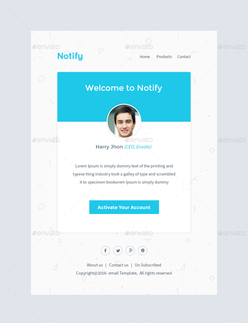 activation email template - notify notification email template psd by