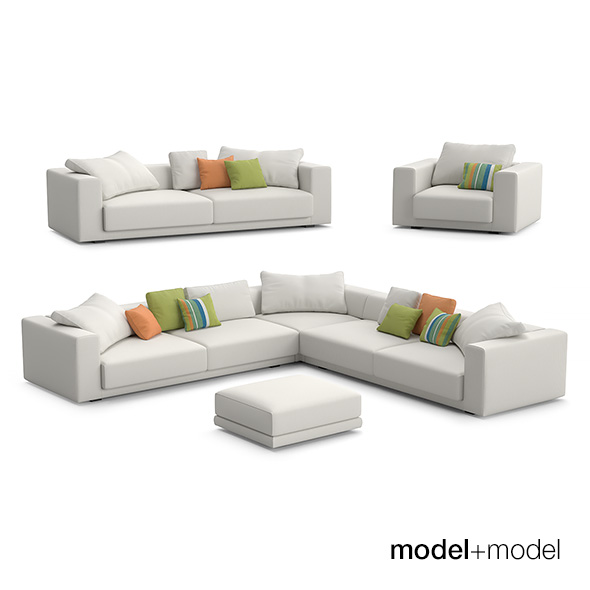 MDF Italia Sliding sofas and armchair - 3DOcean Item for Sale