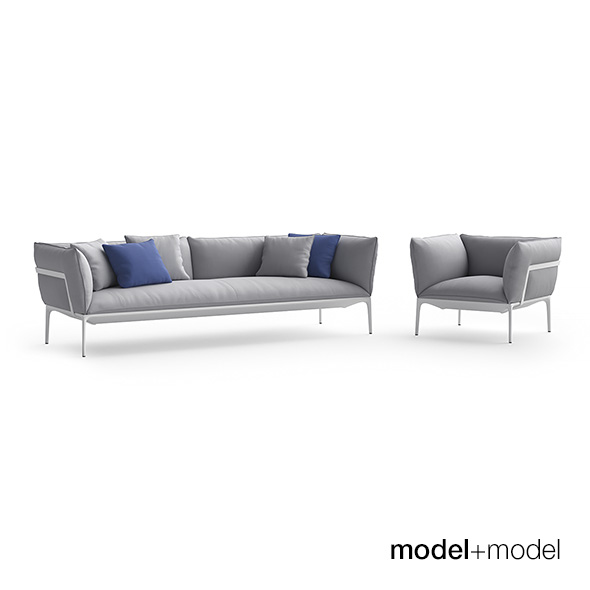 MDF Italia Yale sofa and armchair - 3DOcean Item for Sale
