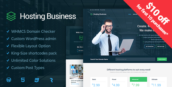 Hosting Business  – Technology, Software and Hosting WordPress Theme