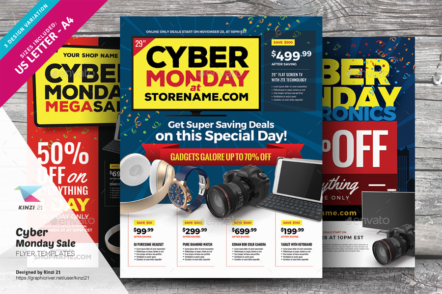 cyber monday sale flyer templates by kinzi21 graphicriver