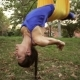 Aerial Yoga Practitioner Stretches Herself While Suspended On Hammock. - VideoHive Item for Sale
