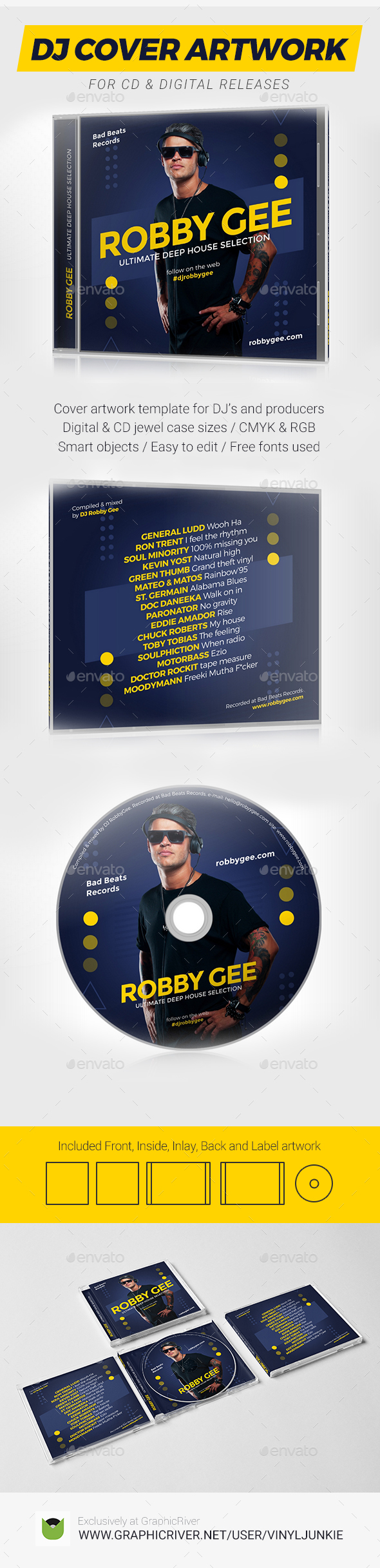 ProDJ   DJ Mixtape CD Cover Artwork PSD Template   CD U0026 DVD Artwork Print  Templates