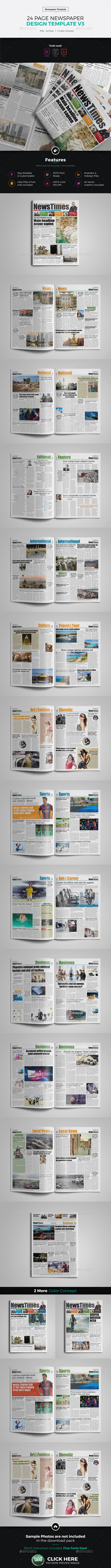 24 Page Newspaper InDesign v3 - Newsletters Print Templates