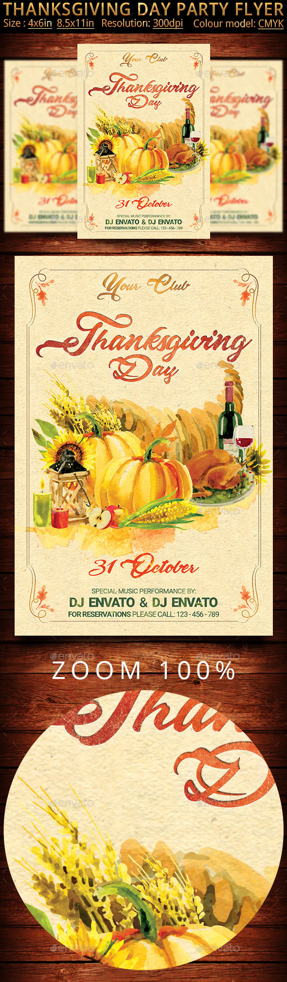 Thanksgiving Day Vintage Party Flyer