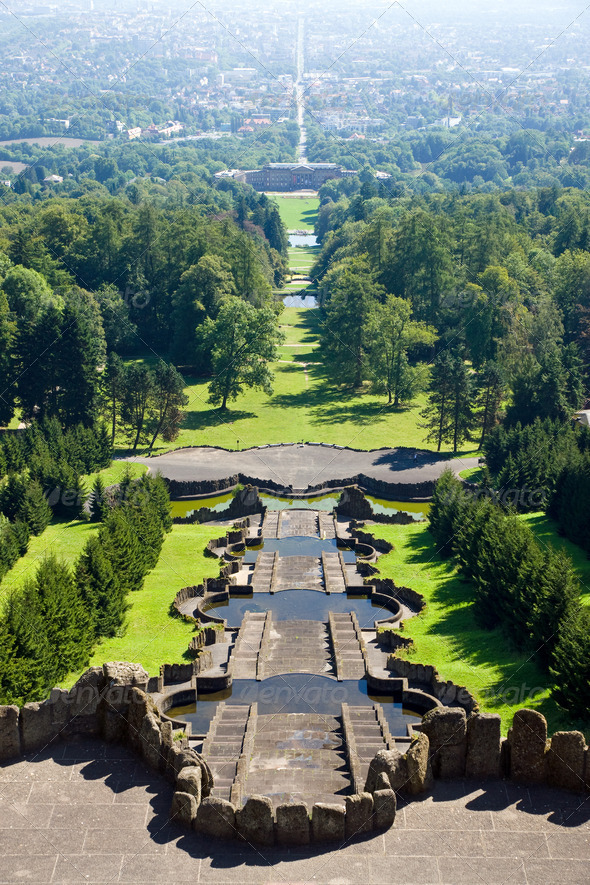 View from the Herkules in Kassel - Stock Photo - Images