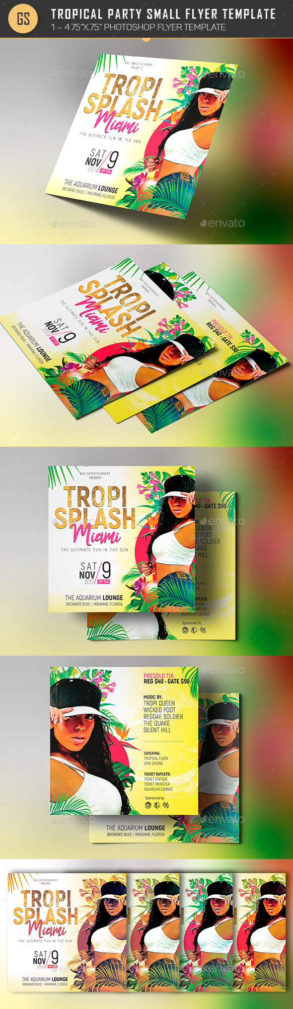 Tropical Party Small Flyer Template - Clubs & Parties Events