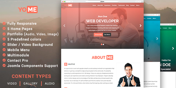 YoMe – Multipurpose Resume Joomla Template