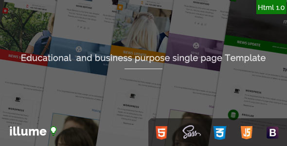 Illume – Single Page Educational / Business Purpose Bootstrap Html5 Template