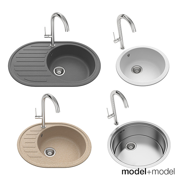 Round kitchen sinks by modelplusmodel | 3DOcean