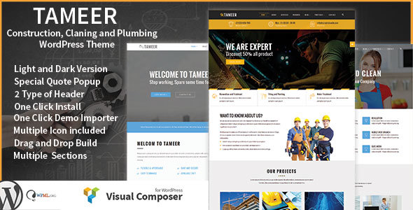 Tameer Construction / Cleaning / Plumbing Multipurpose WordPress Theme - Business Corporate