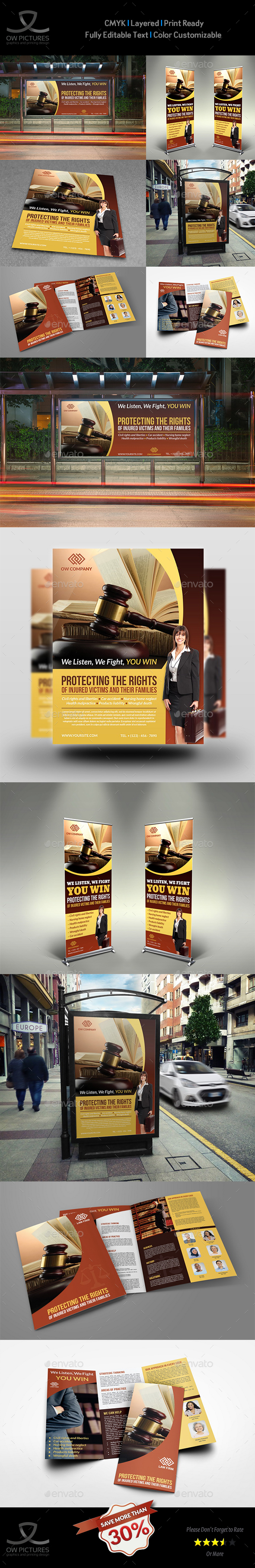 Law Firm Business Advertising Bundle - Signage Print Templates