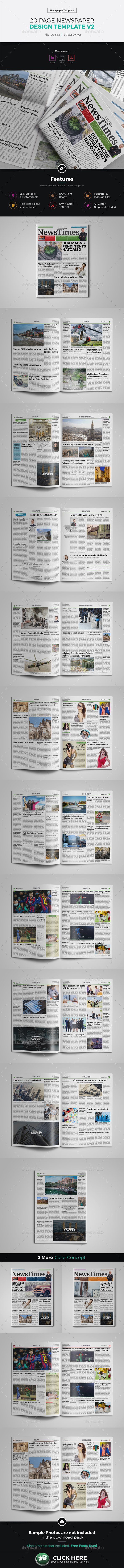 20 Page Newspaper InDesign v2 - Newsletters Print Templates