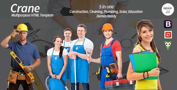 Crane - HTML5 Construction - Education - Cleaning - Plumbing - Solar Energy Template - Business Corporate