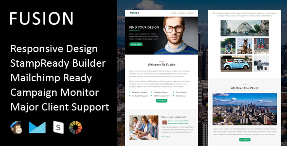 Image of Fusion - Multipurpose Responsive Email Template + Stampready Builder