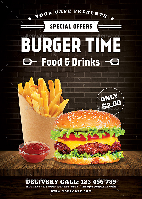 Burger Flyer by RafiqFarzali : GraphicRiver