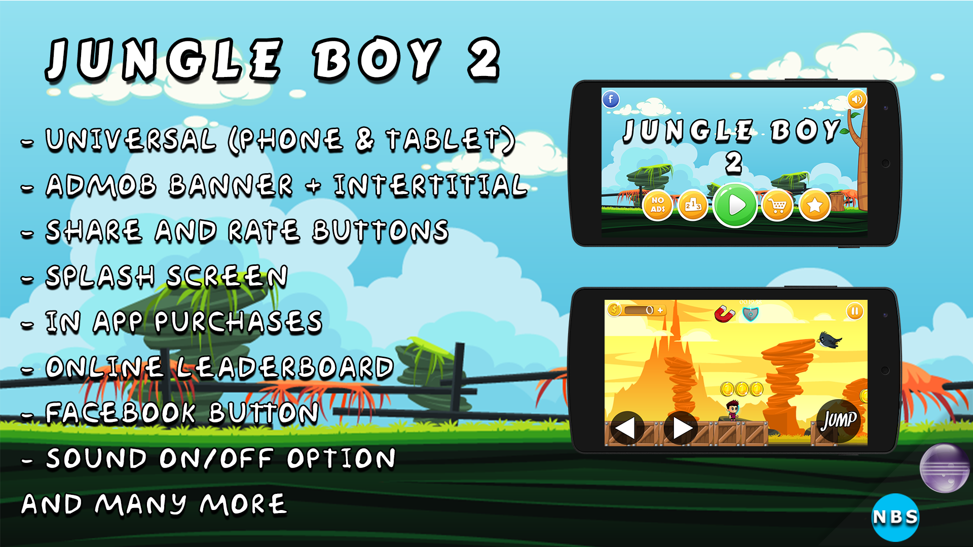 Jungle Boy 2 Android Game, Easy to reskin  Admob Ads, IAP, Multiple  characters, And more