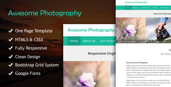 Awesome Photography Responsive Multipurpose Single Page Template - Photography Creative