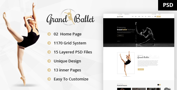 Grand Ballet - Creative Ballet PSD Template - Entertainment PSD Templates