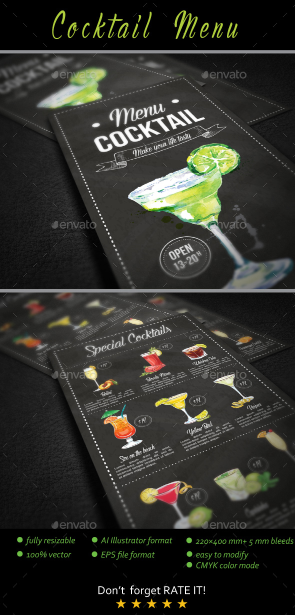 Cocktail menu by kukidizajn graphicriver for Bar food night neue heimat