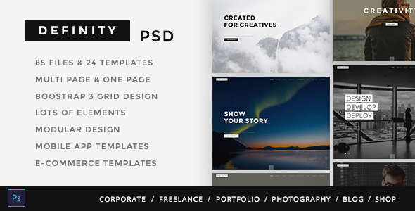 Definity Multipurpose One-Multi Page PSD Template - Creative PSD Templates