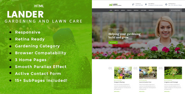 Lander – Gardening and Landscaping HTML Template