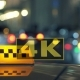 Illuminated Checkered Sign Of Taxi Cab In Night City - VideoHive Item for Sale