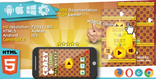 Crazy jump halloween - HTML5 game. Construct2 (.capx) + Top banner AdMob - CodeCanyon Item for Sale