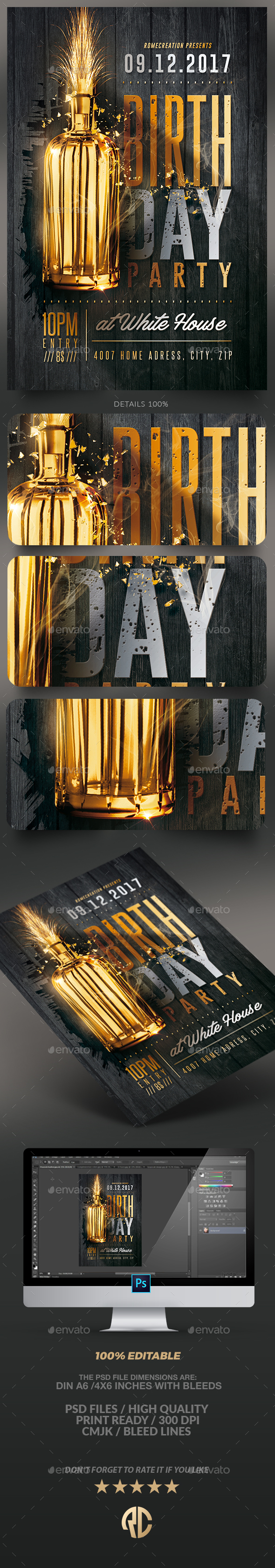 Gold Birthday Party | Flyer Template - Clubs & Parties Events