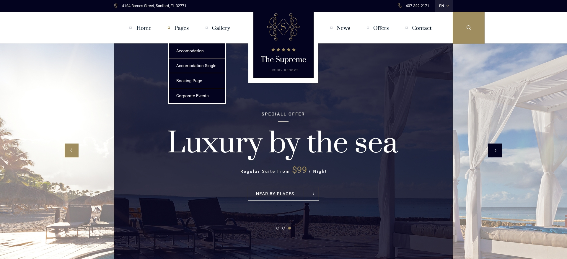 The supreme luxury hotel resort psd template