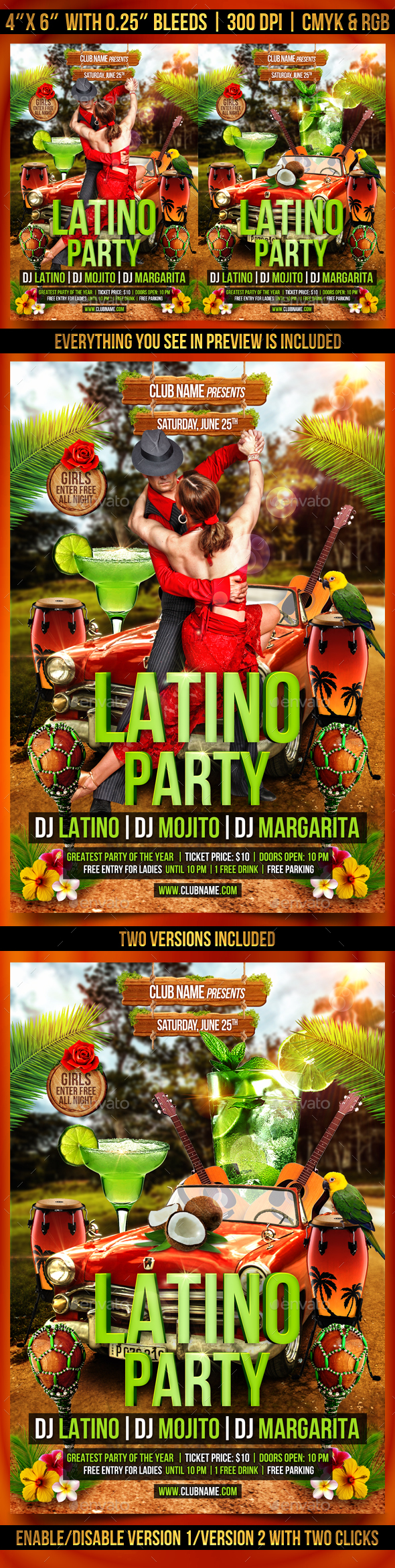 Latino Party Flyer Template - Clubs & Parties Events