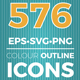576 detailed colour icons collection - GraphicRiver Item for Sale