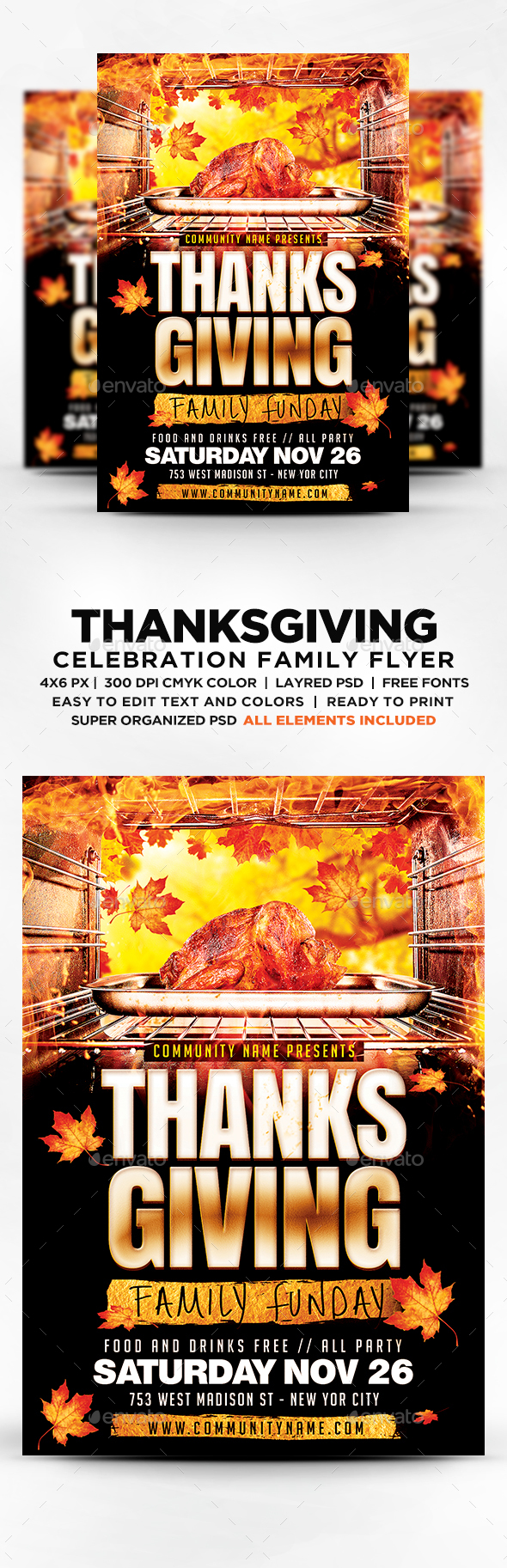 Thanksgiving Family Funday Party Flyer