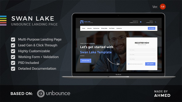Swan Lake – Marketing Unbounce Template