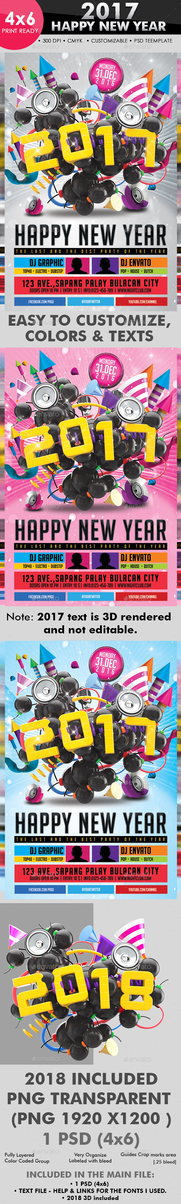 2017 Happy New Year Flyer Template - Clubs & Parties Events
