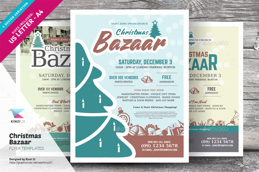 Christmas Bazaar Flyer Templates By Kinzi  Graphicriver